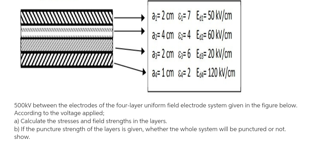 aj= 2 cm &=7 Eg=50 kV/cm a;= 4 cm &;=4 Eg= 60 kV/cm a;= 2 cm &=6 Eg=20 kV/cm a;=1 cm &#2 Ex=120 kV/cm 500KV between the electrodes of the four-layer uniform field electrode system given in the figure below. According to the voltage applied; a) Calculate the stresses and field strengths in the layers.