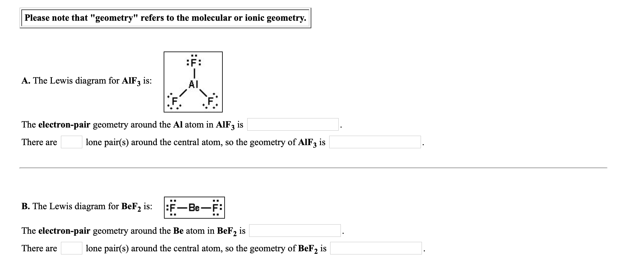 Answered: :F: A. The Lewis diagram for AIF3 is:… | bartleby