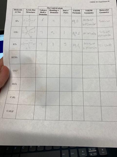 CHEM 181 Experiment # On Central atom Molecular Geometry Molecule or lon Lewis Dot Structure Valence Shell e Domains Bonding e Domains lone e VSEPR Formula VSEPR Pairs Geometry 6 trone See-sa SF4 bif ide ABEoctrh CIFs cl- 4rigun ICl 1-Shefe bip lan НСО» CO Н.О: CH2 С-НF P Ctrl All Ho