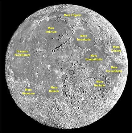 Mare Frigoris Mare Imbrium Mare Serenitatis More Crisium Oceanus Procellarum More Tronquilitatis Mare Recunditatis Mare Mectaris Mare Mare Homorum Nubium