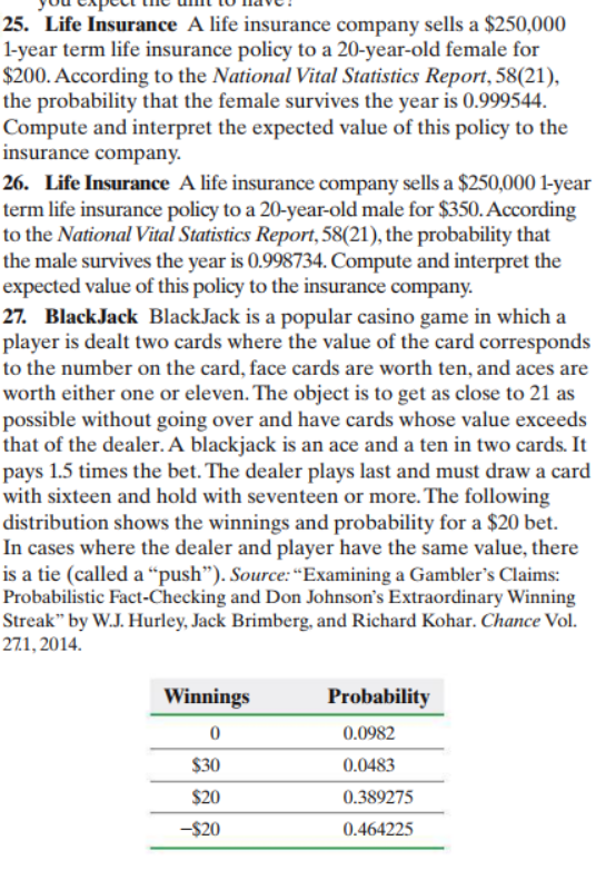 """25. Life Insurance A life insurance company sells a $250,000 1-year term life insurance policy to a 20-year-old female for $200. According to the National Vital Statistics Report, 58(21) the probability that the female survives the year is 0.999544 Compute and interpret the expected value of this policy to the insurance company 26. Life Insurance A life insurance company sells a $250,000 1-year term life insurance policy to a 20-year-old male for $350.According to the National Vital Statistics Report, 58(21), the probability that the male survives the year is 0.998734. Compute and interpret the expected value of this policy to the insurance company. 27. BlackJack BlackJack is a popular casino game in which a player is dealt two cards where the value of the card corresponds to the number on the card, face cards are worth ten, and aces are worth either one or eleven. The object is to get as close to 21 as possible without going over and have cards whose value exceeds that of the dealer. A blackjack is an ace and a ten in two cards. It pays 1.5 times the bet. The dealer plays last and must draw a card with sixteen and hold with seventeen or more. The following distribution shows the winnings and probability for a $20 bet. In cases where the dealer and player have the same value, there is a tie (called a """"push""""). Source: """"Examining a Gambler's Claims: Probabilistic Fact-Checking and Don Johnson's Extraordinary Winning Streak"""" by W.J. Hurley, Jack Brimberg, and Richard Kohar. Chance Vol. 271, 2014. Winnings Probability 0 0.0982 $30 0.0483 $20 0.389275 -$20 0.464225"""
