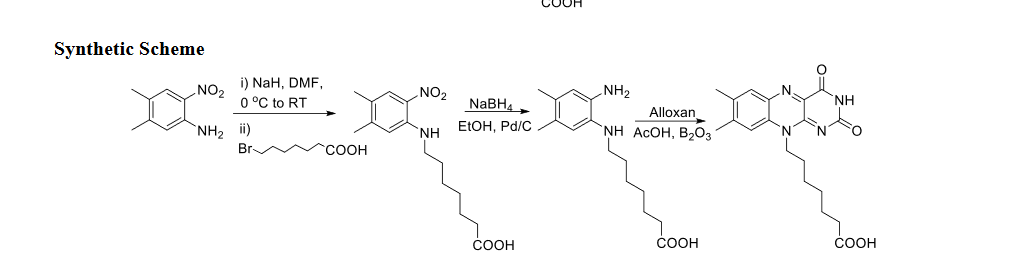 """COOH Synthetic Scheme )NaH, DMF, 0 °C to RT NO2 NH2 N NO2 NH NaBH Alloxan """"NH ACOH, В,03 ETОН, Pd/C NH2 i) Br NH СООН СООН СООн COOH"""