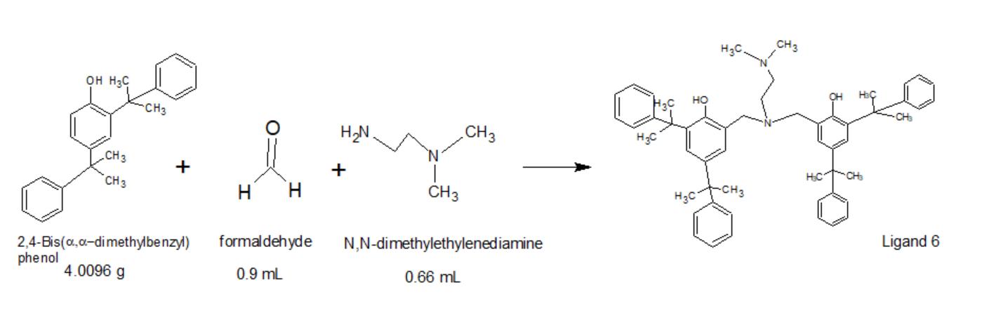 """CHз он нас но """"CHз H2N CHз НаС .CH 3 + CH нс CHз н н CHз -CH3 Hас 2,4-Bis(a.,a-dimethylbe nzyl) phenol Ligand 6 formaldehyde N,N-dimethylethylenediamine 4.0096 g 0.9 mL 0.66 mL"""