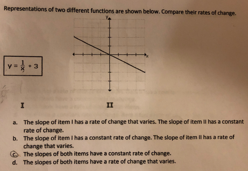 Representations of two different functions are shown below. Compare their rates of change. y =* + 3 II a. The slope of item I has a rate of change that varies. The slope of item II has a constant rate of change. b. The slope of item I has a constant rate of change. The slope of item II has a rate of change that varies. C The slopes of both items have a constant rate of change. d. The slopes of both items have a rate of change that varies.