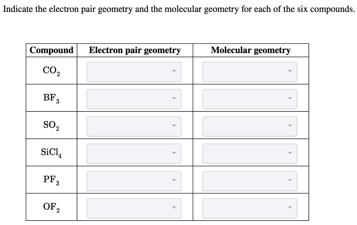 Answered: Indicate the electron pair geometry and… | bartleby