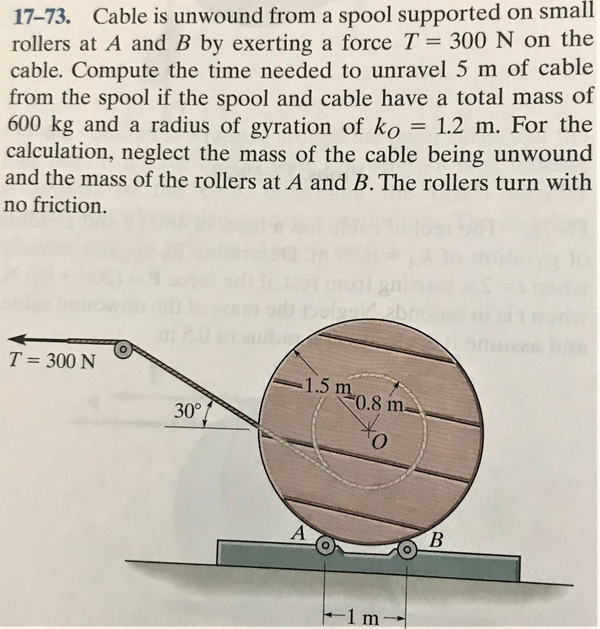 17-73. Cable is unwound from a spool supported on small rollers at A and B by exerting a force T = 300 N on the cable. Compute the time needed to unravel 5 m of cable from the spool if the spool and cable have a total mass of 600 kg and a radius of gyration of ko = 1.2 m. For the calculation, neglect the mass of the cable being unwound and the mass of the rollers at A and B.The rollers turn with %3| no friction. mont 11 T = 300 N 1.5 m 0.8 m- 30° A' B