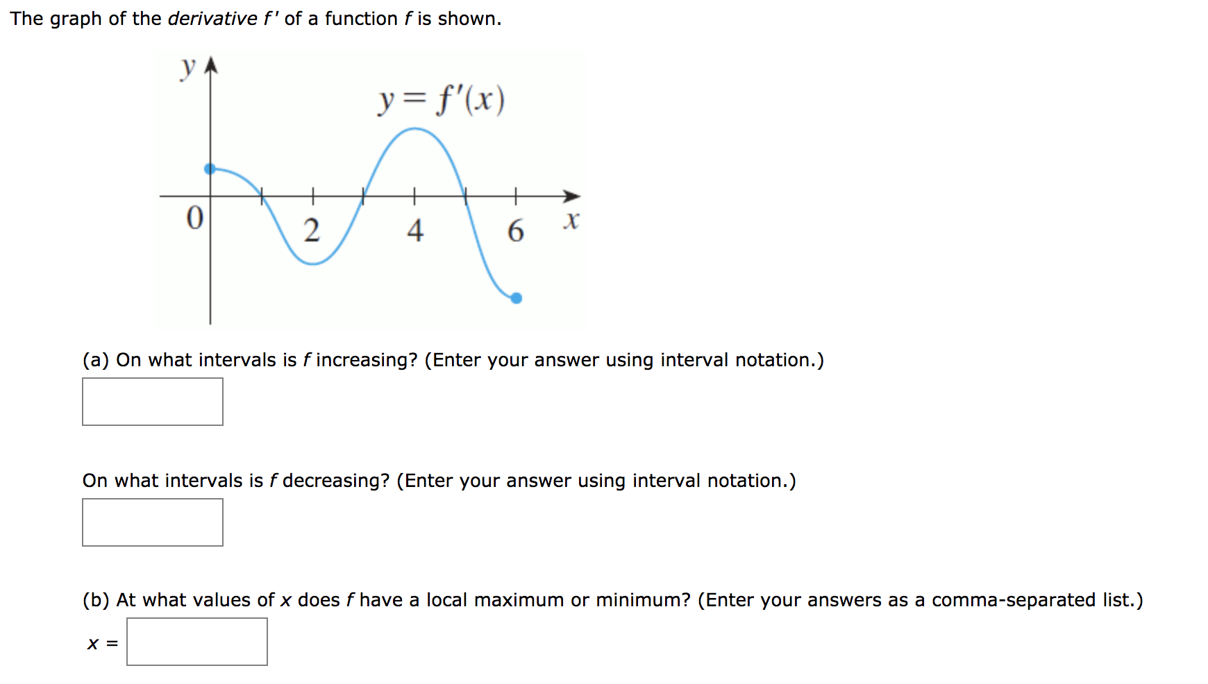 The graph of the derivative f' of a function f is shown. y= f'(x) х (a) On what intervals is f increasing? (Enter your answer using interval notation.) On what intervals is f decreasing? (Enter your answer using interval notation.) (b) At what values of x does f have a local maximum or minimum? (Enter your answers as a comma-separated list.) 4.