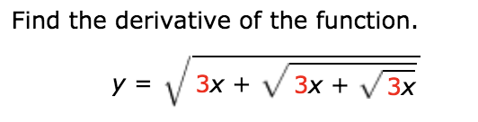 Find the derivative of the function Зх + у Зx + y = Зх
