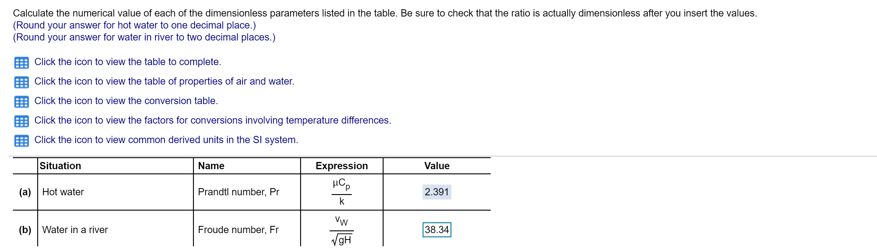 Calculate the numerical value of each of the dimensionless parameters listed in the table. Be sure to check that the ratio is actually dimensionless after you insert the values. (Round your answer for hot water to one decimal place.) (Round your answer for water in river to two decimal places.) Click the icon to view the table to complete. Click the icon to view the table of properties of air and water. Click the icon to view the conversion table. Click the icon to view the factors for conversions involving temperature differences. Click the icon to view common derived units in the Sl system Situation Name Expression Value Prandtl number, Pr (a)Hot water 2.391 k Vw 38.34 (b) Water in a river Froude number, Fr gH