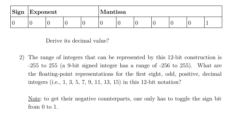 Sign Exponent Mantissa Derive its decimal value? 2) The range of integers that can be represented by this 12-bit construction is -255 to 255 (a 9-bit signed integer has a range of -256 to 255). What are the floating-point representations for the first eight, odd, positive, decimal integers (i.e., 1, 3, 5, 7, 9, 11, 13, 15) in this 12-bit notation? Note: to get their negative counterparts, one only has to toggle the sign bit from 0 to 1.