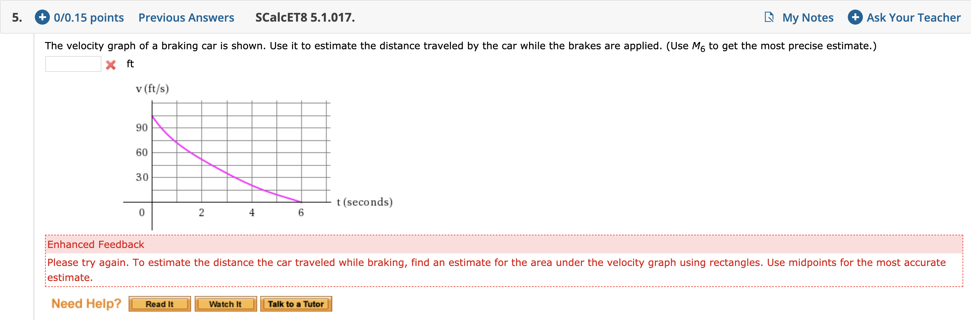 +0/0.15 points Previous Answers Ask Your Teacher SCalcET8 5.1.017. My Notes 5. The velocity graph of a braking car is shown. Use it to estimate the distance traveled by the car while the brakes are applied. (Use M6 to get the most precise estimate.) X ft v (ft/s) 90 60 30 t (seconds) 2 4 6 Enhanced Feedback Please try again. To estimate the distance the car traveled while braking, find an estimate for the area under the velocity graph using rectangles. Use midpoints for the most accurate estimate Need Help? Read It Talk to a Tutor Watch It