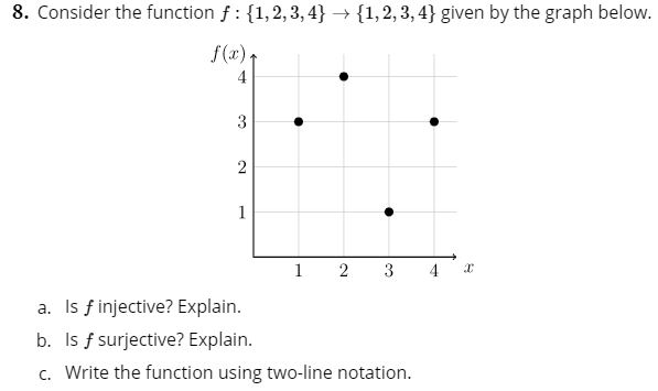 8. Consider the function f 1,2,3,4 1,2,3,4} given by the graph below. f(x) 4 3 2 1 2 3 4 a. Is f injective? Explain. b. Is f surjective? Explain. c. Write the function using two-line notation.
