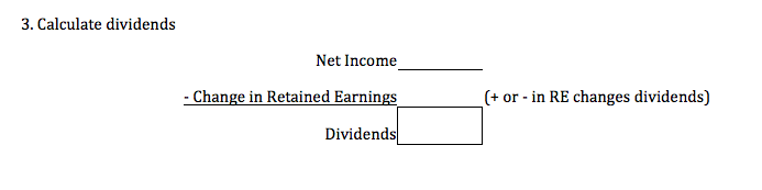 3. Calculate dividends Net Income - Change in Retained Earnings (+ or - in RE changes dividends) Dividends