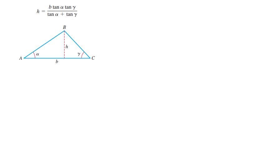 b tan a tan y h = tan a + tan y B A