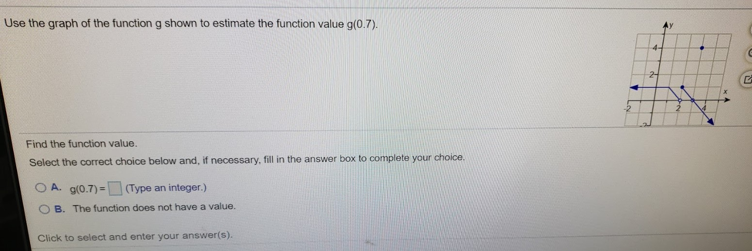 Use the graph of the function g shown to estimate the function value g(0.7). 4- 2- Find the function value. Select the correct choice below and, if necessary, fill in the answer box to complete your choice. O A. g(0.7)= (Type an integer.) B. The function does not have a value. Click to select and enter your answer(s).