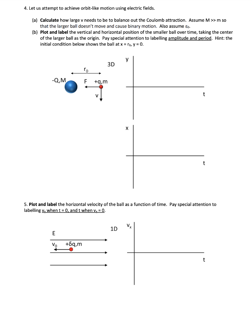 4. Let us attempt to achieve orbit-like motion using electric fields. (a) Calculate how large v needs to be to balance out the Coulomb attraction. Assume M>>m so that the larger ball doesn't move and cause binary motion. Also assume ɛg. (b) Plot and label the vertical and horizontal position of the smaller ball over time, taking the center of the larger ball as the origin. Pay special attention to labelling amplitude and period. Hint: the initial condition below shows the ball at x = ro, y = 0. 3D ro -Q,M +g.m х 5. Plot and label the horizontal velocity of the ball as a function of time. Pay special attention to labelling v, when t = 0, and t when v, = 0. 1D Vo +6q,m