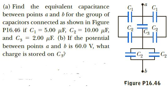 Hi (a) Find the equivalent capacitance between points a and b for the group of capacitors connected as shown in Figure P16.46 if C, = 5.00 µF, C2 = 10.00 µF, and C3 = 2.00 µF. (b) If the potential between points a and b is 60.0 V, what charge is stored on C3? Cq |C3 C2 Figure P16.46
