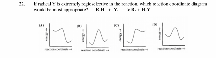 22 If radical Y is extremely regioselective in the reaction, which reaction coordinate diagram would be most appropriate? R-H + Y. -> R. + H-Y reaction coordinate reaction coordinate- reaction coordinate- reaction coordinate- 81u