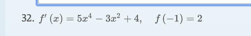 32. f (x)54 - 3x2 4, f(-1) 2