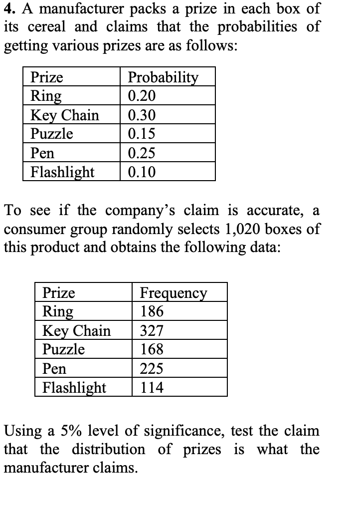 4. A manufacturer packs a prize in each box of its cereal and claims that the probabilities of getting various prizes are as follows: Probability 0.20 Prize Ring Key Chain Puzzle 0.30 0.15 Pen 0.25 Flashlight 0.10 To see if the company's claim is accurate, a consumer group randomly selects 1,020 boxes of this product and obtains the following data: Prize Frequency 186 Ring Key Chain Puzzle 327 168 Pen 225 Flashlight 114 Using a 5% level of significance, test the claim that the distribution of prizes is what the manufacturer claims.