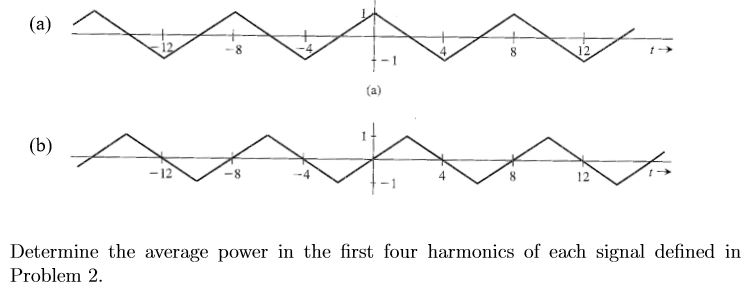 (a) 8 12 8 (a) (b) 12 12 Determine the average power in the first four harmonics of each signal defined in Problem 2