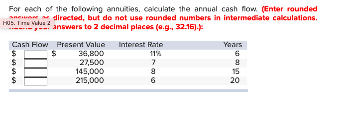 For each of the following annuities, calculate the annual cash flow. (Enter rounded anware adirected, but do not use rounded numbers in intermediate calculations. 2 nswers to 2 decimal places (e.g., 32.16).): Years Cash Flow Present Value Interest Rate $ 36,800 27,500 145,000 215,000 11% 6 8 8 15 6 20