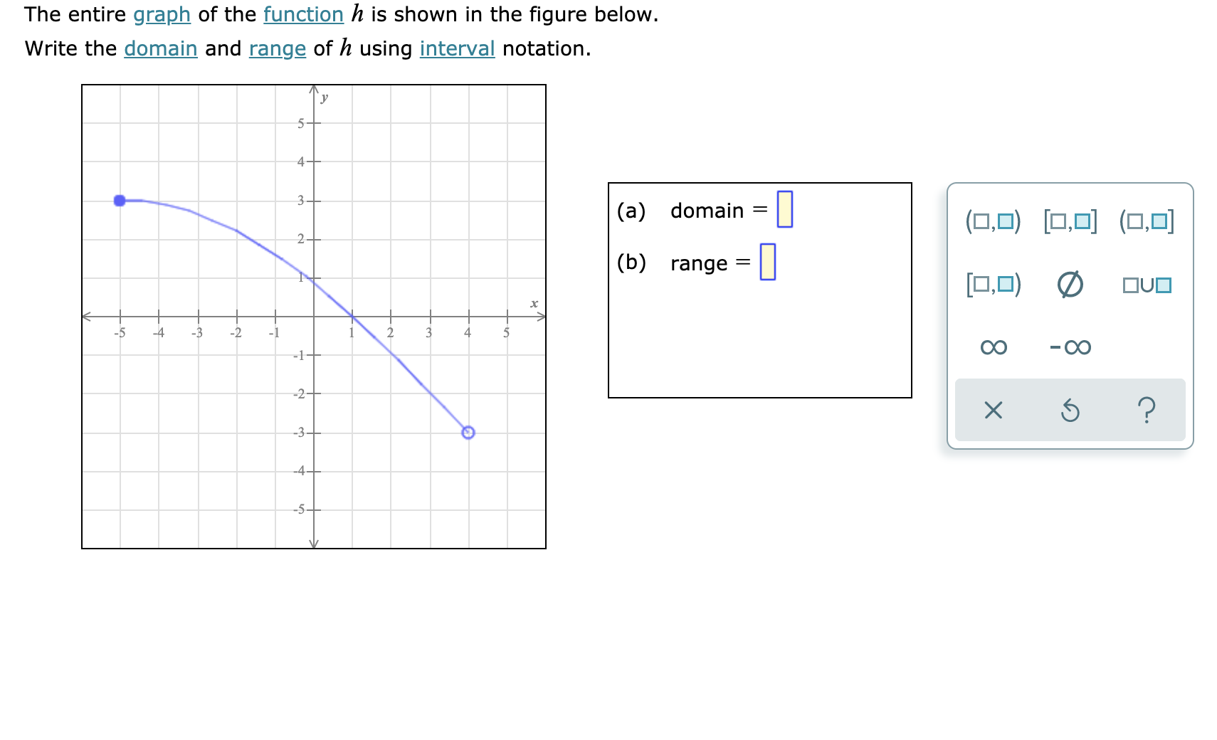 Answered The Entire Graph Of The Function H Is Bartleby