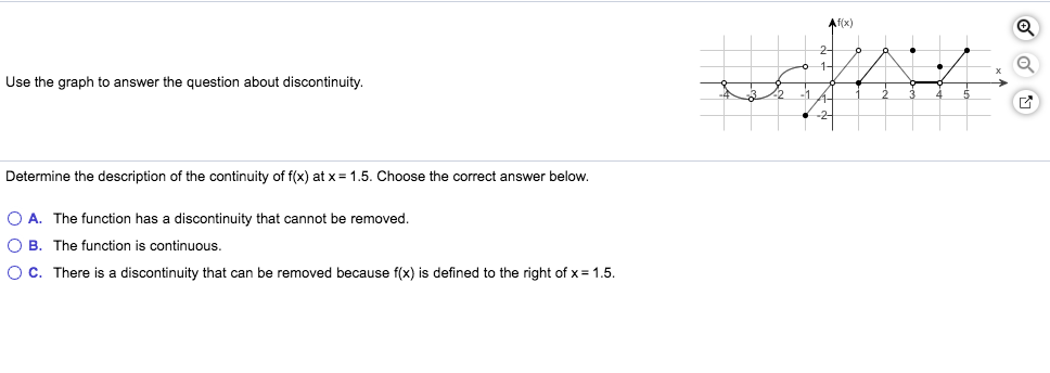 Af(x) Use the graph to answer the question about discontinuity. Determine the description of the continuity of f(x) at x = 1.5. Choose the correct answer below. O A. The function has a discontinuity that cannot be removed O B. The function is continuous. O C. There is a discontinuity that can be removed because f(x) is defined to the right of x 1.5