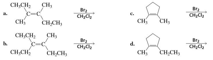 Br2 CH2CI2 CH3 CH3CH2 Br2 CH2Cl2 c. C=C a. CH3 CH3 CH,CH3 CH3 CH3 Br2 CH2CI2 CH3CH2 C=C d. Br2 CH2CI2 b. CH,CH3 СHЗ CH3CH, CH,CH3