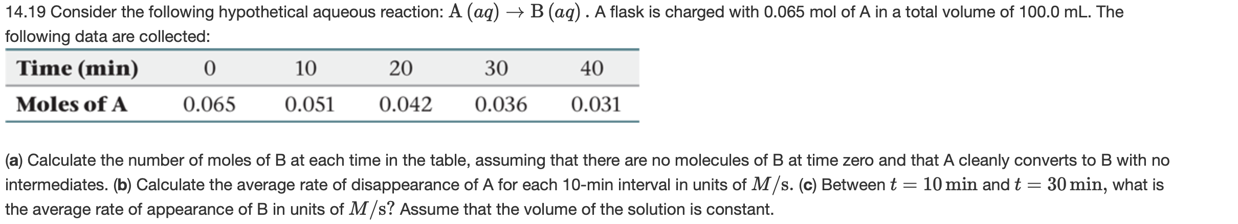 → B (aq). A flask is charged with 0.065 mol of A in a total volume of 100.0 mL. The 14.19 Consider the following hypothetical aqueous reaction: A (aq) following data are collected: Time (min) 10 20 30 40 0.031 Moles of A 0.065 0.051 0.042 0.036 (a) Calculate the number of moles of B at each time in the table, assuming that there are no molecules of B at time zero and that A cleanly converts to B with no intermediates. (b) Calculate the average rate of disappearance of A for each 10-min interval in units of M/s. (c) Between t the average rate of appearance of B in units of M/s? Assume that the volume of the solution is constant. 10 min and t = 30 min, what is