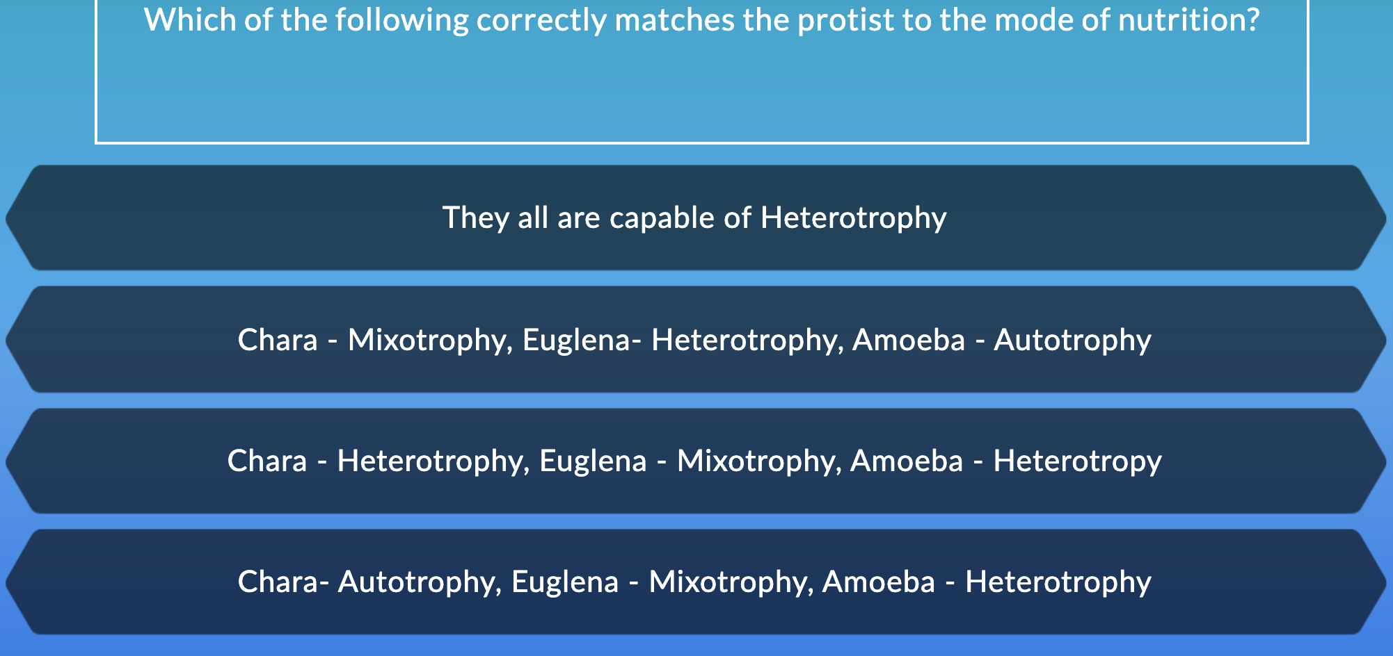 Which of the following correctly matches the protist to the mode of nutrition? They all are capable of Heterotrophy Chara - Mixotrophy, Euglena- Heterotrophy, Amoeba - Autotrophy Chara - Heterotrophy, Euglena - Mixotrophy, Amoeba - Heterotropy Chara- Autotrophy, Euglena - Mixotrophy, Amoeba - Heterotrophy