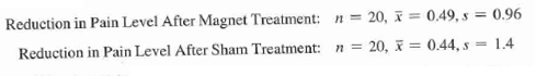 Reduction in Pain Level After Magnet Treatment: n = 20, Reduction in Pain Level After Sham Treatment: n = 20, x = 0,49, s = 0.96 = 0.44, s = 1.4