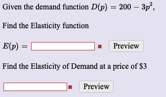 Answered Given The Demand Function D P 200 Bartleby