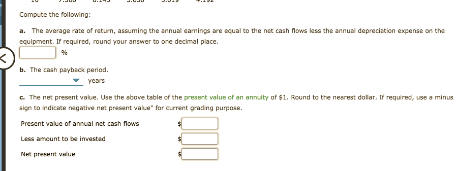 """Compute the following: a. The average rate of return, assuming the annual earnings are equal to the net cash flows less the annual depreciation expense on the equipment. If required, round your answer to one decimal place. b. The cash payback period. years c. The net present value. Use the above table of the present value of an annuity of $1. Round to the nearest dollar. If required, use a minus sign to indicate negative net present value"""" for current grading purpose. Present value of annual net cash flows Less amount to be invested Net present value"""