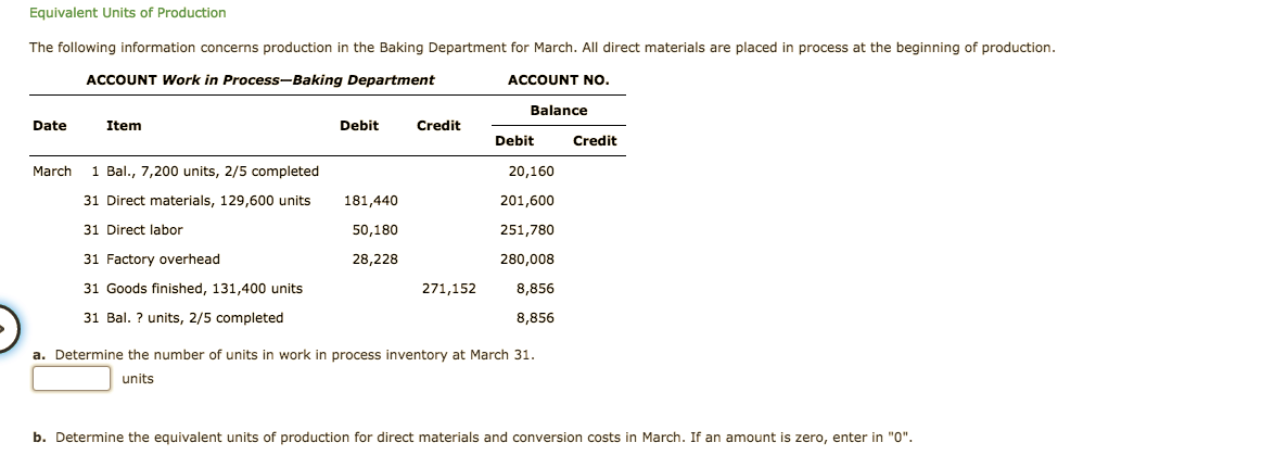 """Equivalent Units of Production The following information concerns production in the Baking Department for March. All direct materials are placed in process at the beginning of production. ACCOUNT Work in Process-Baking Department ACCOUNT NO. Balance Credit Date Item Debit Debit Credit March 1 Bal., 7,200 units, 2/5 completed 20,160 201,600 31 Direct materials, 129,600 units 181,440 251,780 31 Direct labor 50,180 31 Factory overhead 28,228 280,008 271,152 31 Goods finished, 131,400 units 8,856 8,856 31 Bal.? units, 2/5 completed a. Determine the number of units in work in process inventory at March 31. units b. Determine the equivalent units of production for direct materials and conversion costs in March. If an amount is zero, enter in """"0"""""""