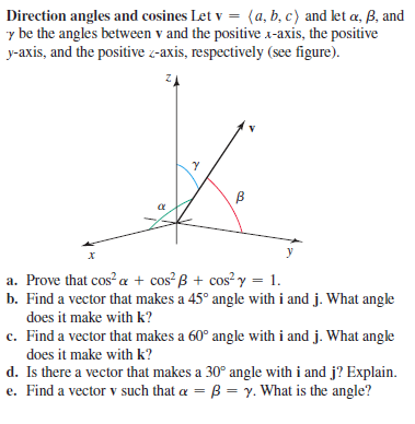 Answered: Direction Angles And Cosines Let V =… | Bartleby