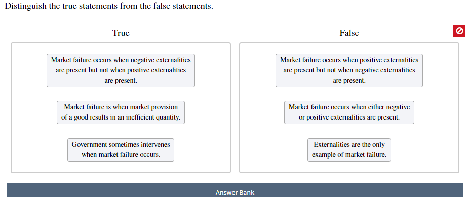 Distinguish the true statements from the false statements False True Market failure occurs when negative externalities Market failure occurs when positive externalities are present but not when positive externalities are present but not when negative externalities are present are present Market failure is when market provision Market failure occurs when either negative of a good results in an inefficient quantity or positive externalities are present. Externalities are the only example of market failure. Government sometimes intervenes when market failure occurs Answer Bank