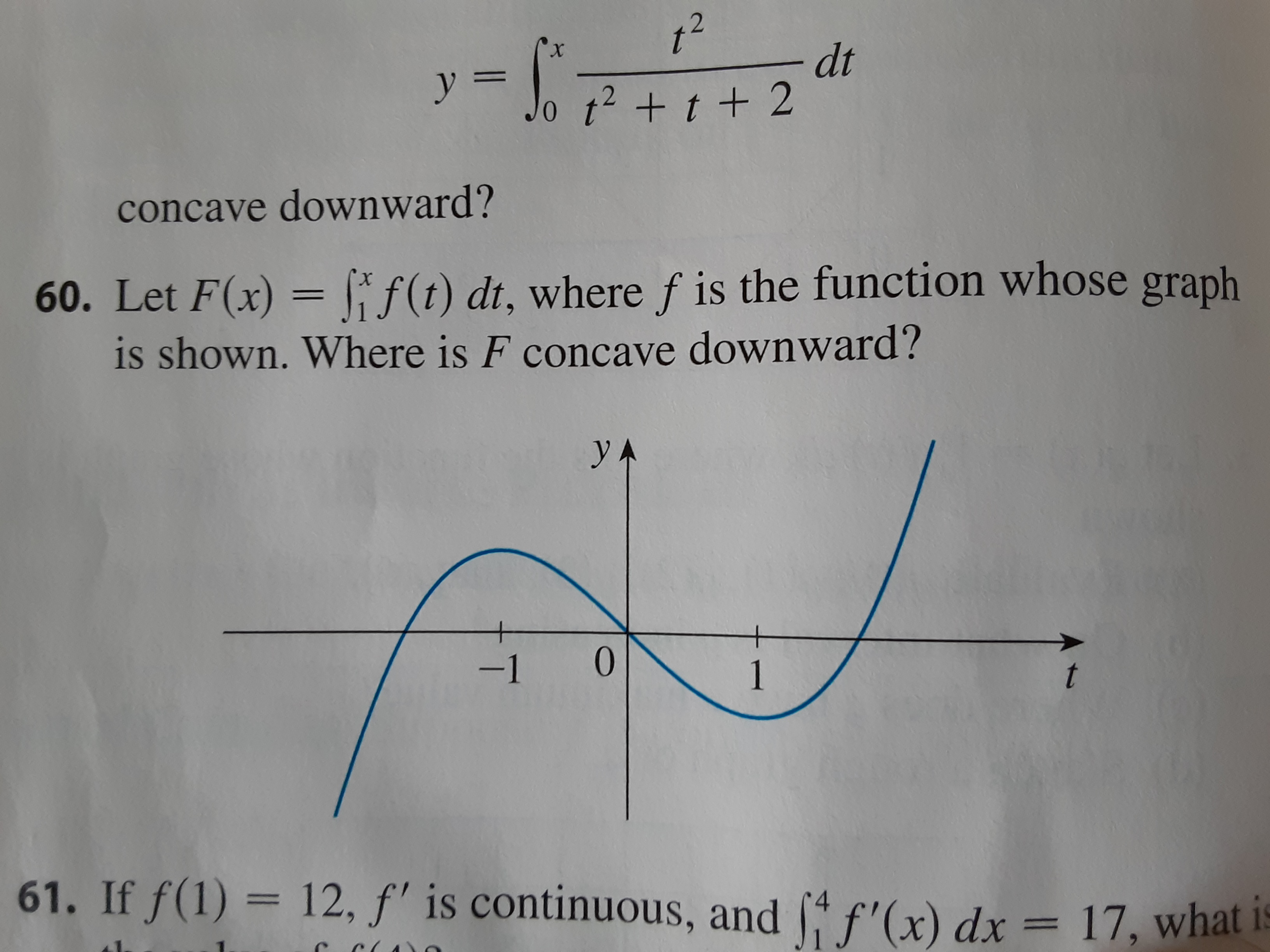x. concave downward? 60. Let F(x) = f f(1) dt, where f is the function whose gr- is shown. Where is F concave downward? yA