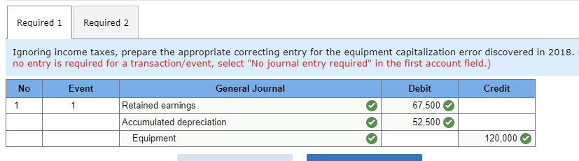 correcting entry