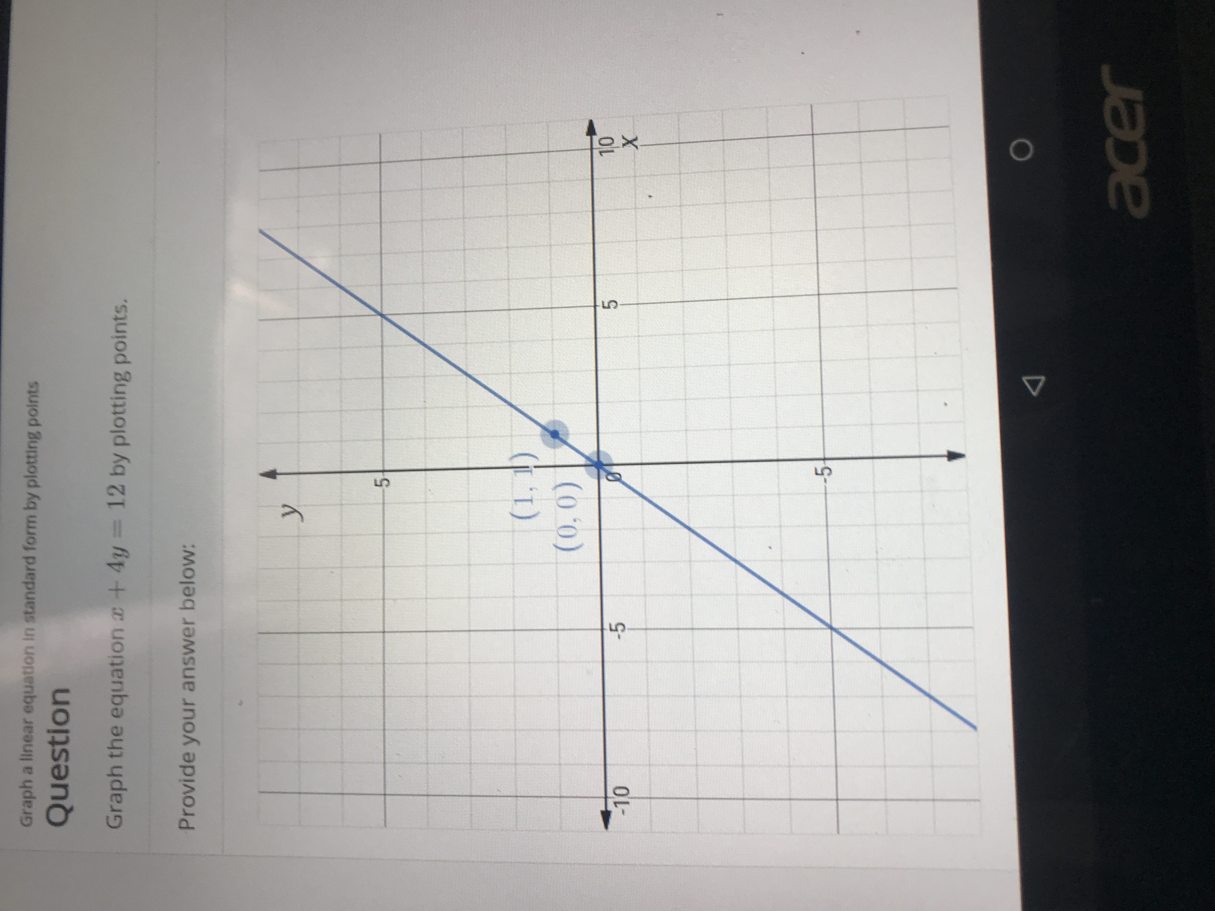 Graph a linear equation in standard form by plotting points Question Graph the equation +4y 12 by plotting points. Provide your answer below: y 5 (1,1) (0,0) 10 X 5 -5 -10 -5 acer