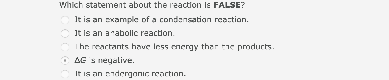 Which statement about the reaction is FALSE? It is an example of a condensation reaction. It is an anabolic reaction. The reactants have less energy than the products. AG is negative. It is an endergonic reaction.