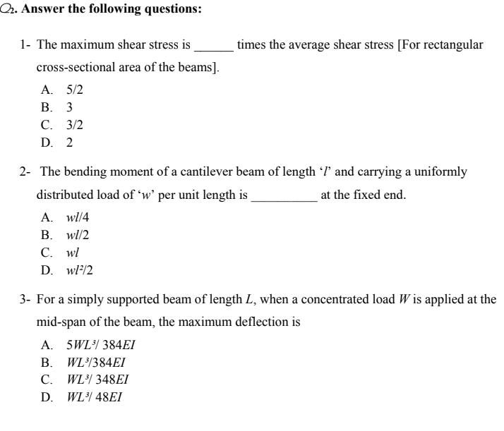 Answered: 1- The maximum shear stress is times… | bartleby