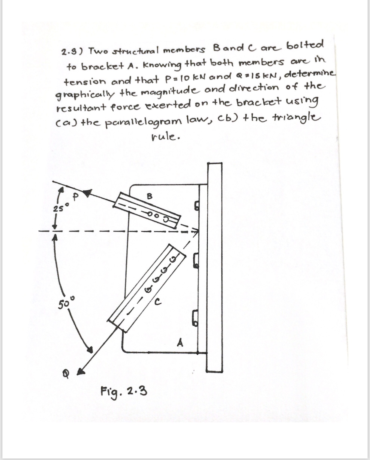 bolteo 2.9) Two structunal members Band C are to bracket A. knowing that both members are ih tension and that P= 1o kN andd = 15 KN, determine graphically the magnitude and direction of the resultant force exerted on the bracket using caj the parallelogram law, cb) +he triangle rule 2S A Frg 2.3 o-n-q