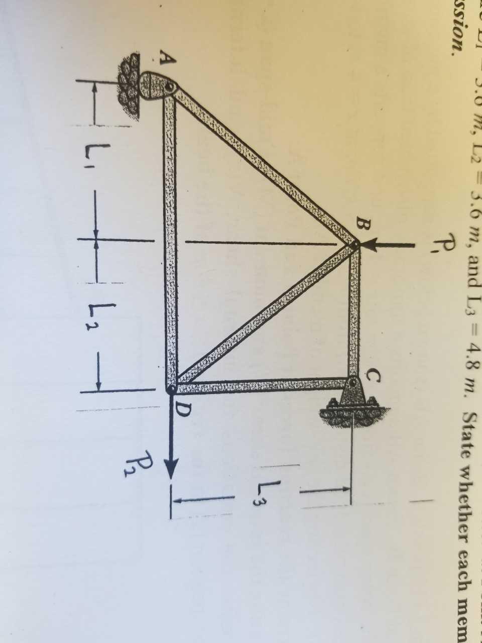 3.0 m, L2 3.6 m, and L3 4.8 m. State whether each mem ssion. P. C B Lg D A L2
