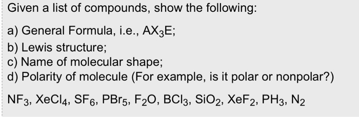 Answered Given A List Of Compounds Show The Bartleby