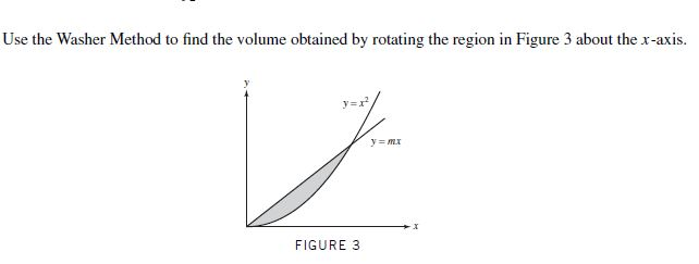 Use the Washer Method to find the volume obtained by rotating the region in Figure 3 about the x-axis. y=r FIGURE 3