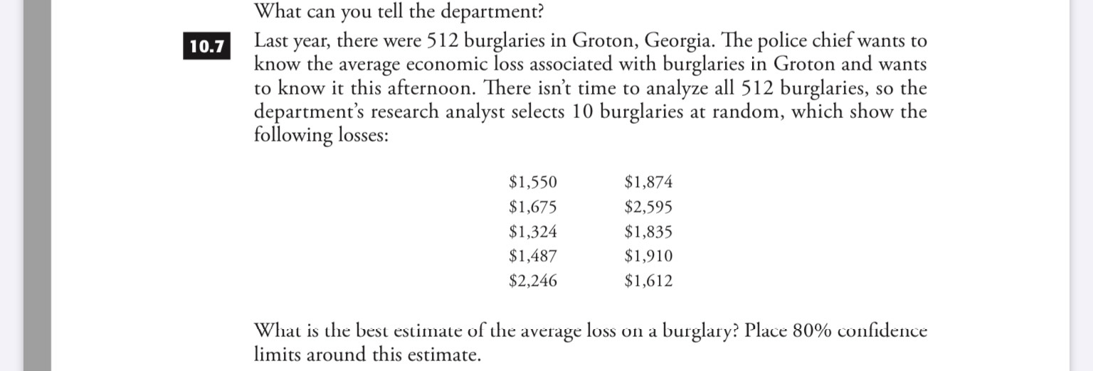What can you tell the department? there were 512 burglaries in Groton, Georgia. The police chief wants to Last year know the average economic loss associated with burglaries in Groton and wants to know it this afternoon. There isn't time to analyze all 512 burglaries, so the department's research analyst selects 10 burglaries at random, which show the following losses: 10.7 $1,550 $1,874 $1,675 $2,595 $1,324 $1,835 $1,487 $1,910 $2,246 $1,612 What is the best estimate of the average loss on a burglary? Place 80% confidence limits around this estimate
