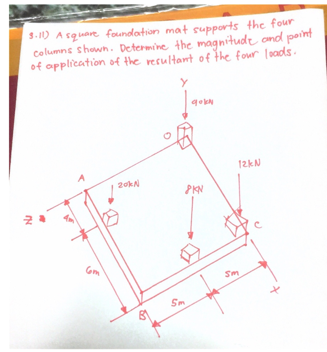 3-11) A squarefoundlation mat supports thc four Columns shown. Determine the magnitudt ond point of application of the resultant of the four loads Y goleh 12KN A 20KN PKN Com Sm Sm