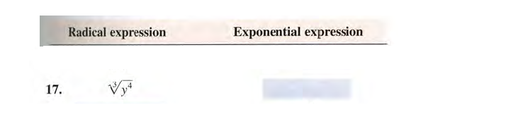 Radical expression Exponential expression 17.
