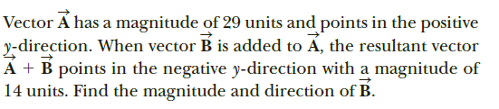 Vector Á has a magnitude of 29 units and points in the positive y-direction. When vector B is added to Á, the resultant vector A + B points in the negative y-direction with a magnitude of 14 units. Find the magnitude and direction of B.